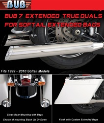 BUB 7 Softail True Duals For Extended Bags fits 1999-2011 ST Bub 054009BGB Black/Black End Caps True Dual System - Dual O2 ports